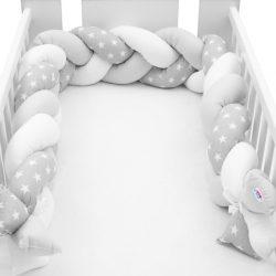 Védő fonott rácsvédő kiságyba New Baby Csillag szürke-fehér