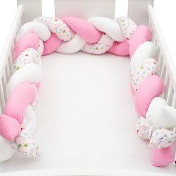 Védő fonott rácsvédő kiságyba New Baby Madárka rózsaszín-fehér