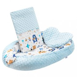 Luxus babafészek párnával és paplannal New Baby Minkyből kék