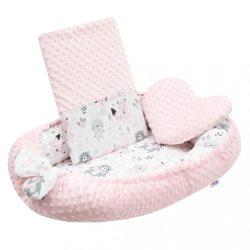 Luxus babafészek párnával és paplannal New Baby Minkyből rózsaszín