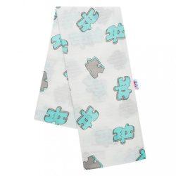 Pamut pelenka nyomtatott mintával New Baby fehér puzzle türkiz