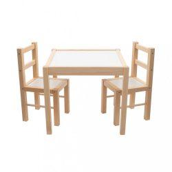 Gyerek fa asztal székekkel New Baby PRIMA természetes