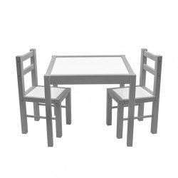Gyerek fa asztal székekkel New Baby PRIMA szürke