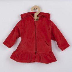 Plüss kapucnis pulóver New Baby Baby piros