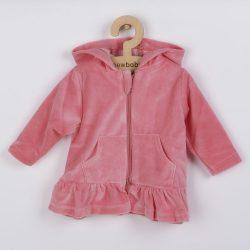Plüss kapucnis pulóver New Baby Baby rózsaszín