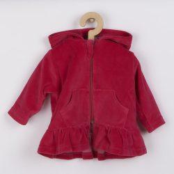 Plüss kapucnis pulóver New Baby Baby sötét rózsaszín