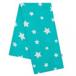 New Baby pamut pelenka nyomtatott mintával zöld csillagokkal fehér