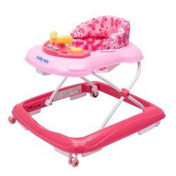 Gyerek bébikomp Baby Mix kormánykerékkel szilikon kerekek dark pink