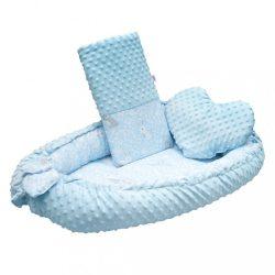 Luxus babafészek párnával és paplannal New Baby Minkyből Nyuszi kék