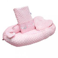 Luxus babafészek párnával és paplannal New Baby Minkyből Nyuszi rózsaszín