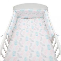 3-részes ágyneműhuzat New Baby 90/120 cm Tollak rózsaszín