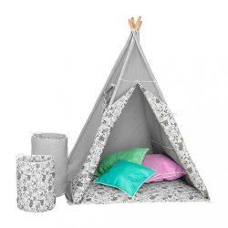 BAZÁR Gyermek luxus sátor felszereléssel Teepee Akuku szürke-fehér