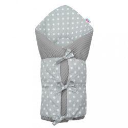 Klasszikus megkötős pólya New Baby Vafle szürke fehér pöttyös