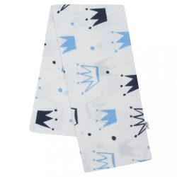 Flanel pelenka nyomtatott mintával New Baby fehér korona kék