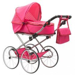 Gyermek Retro babakocsi babáknak 2az1-ben New Baby Anetka rózsaszín pöttyös