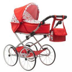 Gyermek Retro babakocsi babáknak 2az1-ben New Baby Anna piros szívecskével