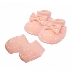 Baba pamut szett-kiscipő és kesztyű Nicol Rainbow rózsaszín