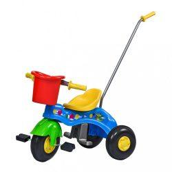 Gyermek pedálos tricikli vezetőrúddal BAYO JUNIOR kék