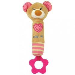 Sípolós plüss játék rágókával Baby Mix maci rózsaszín