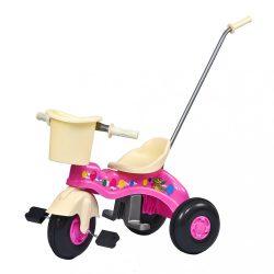 Gyermek pedálos tricikli vezetőrúddal BAYO JUNIOR rózsaszín