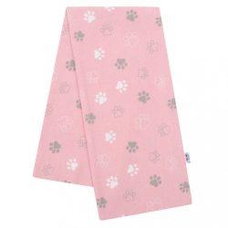 Flanel pelenka nyomtatott mintával New Baby rózsaszín mancsok