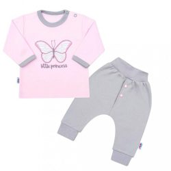 2-részes baba együttes New Baby Little Princess rózsaszín-szürke