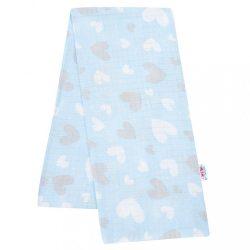 Pamut pelenka nyomtatott mintával New Baby kék szívecskék