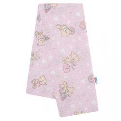 Pamut pelenka nyomtatott mintával New Baby rózsaszín maci és szívecske