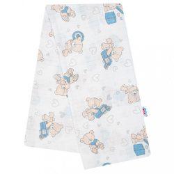 Pamut pelenka nyomtatott mintával New Baby fehér maci kék ajándékkal