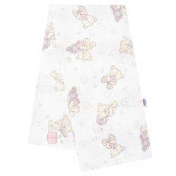 Pamut pelenka nyomtatott mintával New Baby fehér maci rózsaszín ajándékkal