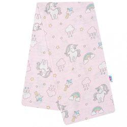 Pamut pelenka nyomtatott mintával New Baby rózsaszín egyszarvú