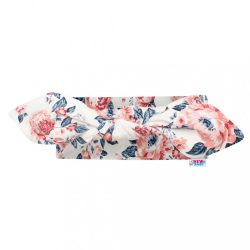 Baba pamut fejpánt New Baby Roses krémszínű-rózsaszín 18,5 cm