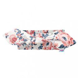 Baba pamut fejpánt New Baby Roses krémszínű-rózsaszín 22,5 cm