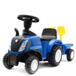Gyerek jármű traktor utánfutóval és szerszámokkal Baby Mix New Holland kék