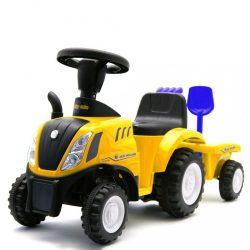 Gyerek jármű traktor utánfutóval és szerszámokkal Baby Mix New Holland sárga
