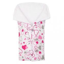 Klasszikus megkötős pólya New Baby JACKET rózsaszín szívecskék