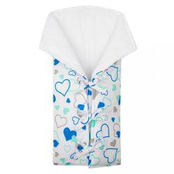 Klasszikus megkötős pólya New Baby JACKET kék szívecskék