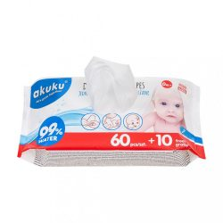 Akuku nedves baba törlőkendő 99% vízzel 60 + 10 db INGYEN