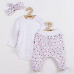 3-részes pamut együttes New Baby Kiddy fehér-rózsaszín