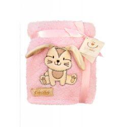 Bobobaby Cute Baby plüss kocsitakaró 76x102cm - pink / nyuszi