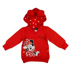 Disney Minnie belül bolyhos kapucnis lányka pulóver pöttyös mintával 116-os méret KIÁRUSÍTÁS