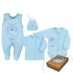 4-részes baba együttes Koala Fox Love kék 50-es méret