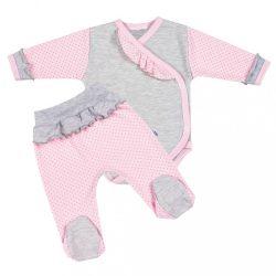 2-részes baba együttes New Baby Pöttyös II szürke-rózsaszín 68-as méret (4-6 h) KIÁRUSÍTÁS