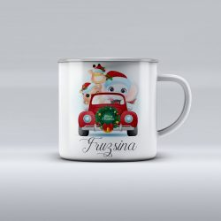 Egyedi névre szóló zománcozott bögre - Irány karácsony Fánival