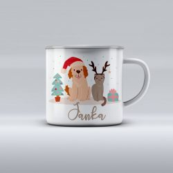 Egyedi névre szóló zománcozott bögre - Fülés és Cirmi karácsonya