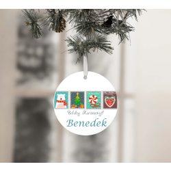 Egyedi névre szóló karácsonyfadísz - Karácsonyi bélyegek