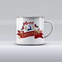 Egyedi névre szóló zománcozott bögre - Merry Christmas