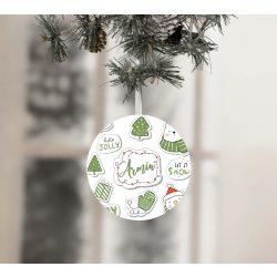 Egyedi névre szóló karácsonyfadísz - Hónyuszi és barátai - Zöld