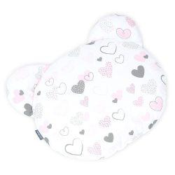 MTT Mackó párna - Fehér alapon rózsaszín szívecskék