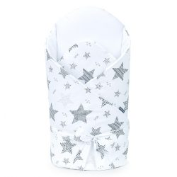 MTT Merevített pólya - Fehér alapon szürke nagy csillagok